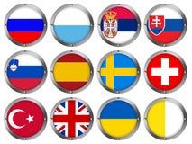 Set von 12 Markierungsfahnen im runden Metall Feld-Europa 4 stock abbildung