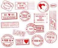 Set von 15 Valentinstag-Stempeln Stockfotografie