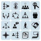 Set von 16 Management und von Arbeitskräftepotenzialikonen Stockfotos