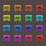 Set von 16 Qualitätsstrukturierten Farbbändern. Stockbild
