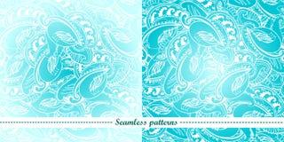 Set von 2 abstrakten nahtlosen Mustern Stockfoto