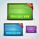 Set von 3 Downloadfahnen für Ihre Web site. Lizenzfreie Stockfotografie