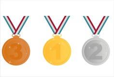 Set von 3 Medaillen Stockfoto