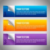 Set von 3 Papierfahnen Stockfoto