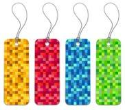 Set von 4 checkered Einkaufenmarken Lizenzfreie Stockfotografie