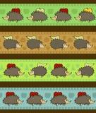 Set von 4 dekorativen Rändern mit Karikaturigelen Lizenzfreie Stockbilder