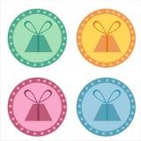 Set von 4 Geschenkaufklebern Stockfoto