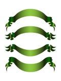 Set von 4 grünen Fahnen Lizenzfreie Stockfotos
