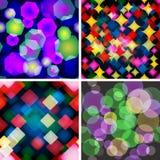 Set von 4 nahtlosen Mustern mit Boke Effekt. Lizenzfreie Stockbilder