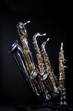 Set von 4 Saxophonen lizenzfreies stockfoto