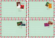 Set von 4 Umschlägen mit Weihnachtsstempeln Stockbild