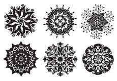 Set von 6 Mandalen - Blumen-/Natur-Mandalen Lizenzfreie Stockfotografie