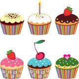 Set von 6 netten kleinen Kuchen Stockfotografie