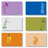 Set von 6 Visitenkarten - Frauwellness-Gesundheit Stockbilder
