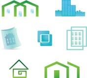 Set von 7 aufbauenden Grundbesitzikonen und von Auslegung ele Lizenzfreies Stockfoto