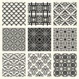 Set von 9 nahtlosen Mustern. Stockbild
