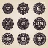 Set von 9 Retro- ausführlichen erstklassigen Qualitätskennsätzen Stockfoto