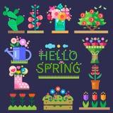 Set von 9 Abbildungen der wundervollen mehrfarbigen Tulpen Abbildung für smellcomp Stockfotografie