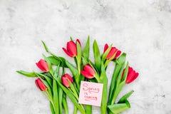 Set von 9 Abbildungen der wundervollen mehrfarbigen Tulpen Tulpen nahe Frühling ist kommende Handbeschriftung auf grauem Draufsic Stockbild