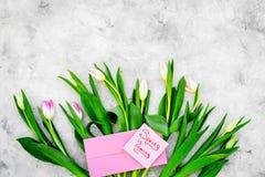 Set von 9 Abbildungen der wundervollen mehrfarbigen Tulpen Tulpen nahe Frühling ist kommende Handbeschriftung auf grauem Draufsic Lizenzfreie Stockfotografie