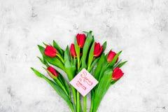Set von 9 Abbildungen der wundervollen mehrfarbigen Tulpen Tulpen nahe Frühling ist kommende Handbeschriftung auf grauem Draufsic Stockfotos