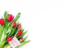 Set von 9 Abbildungen der wundervollen mehrfarbigen Tulpen Tulpen nahe Frühling ist kommende Handbeschriftung auf weißem Draufsic Stockfotos