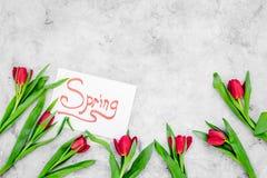 Set von 9 Abbildungen der wundervollen mehrfarbigen Tulpen Rote Tulpen nahe Frühling übergeben Beschriftung auf grauem Draufsicht Lizenzfreie Stockfotos