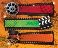Set von drei Filmfahnen auf grungy Hintergrund Stockbild
