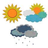 Set von drei verschiedenen Wettersymbolen stock abbildung