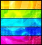 Set von fünf abstrakten Fahnen/Vektor Stockfotografie