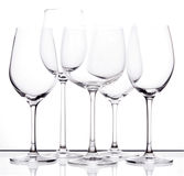 Set von fünf leeren Weingläsern Lizenzfreie Stockfotografie