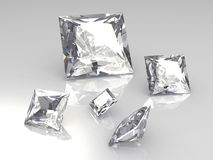 Set von fünf quadratischen Diamantsteinen - 3D Stockbilder