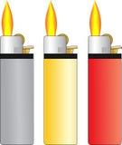 Set von Feuerzeug drei Stockbilder