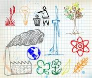 Set von Hand gezeichnet Ikonen der bunten Ökologie Stockbilder