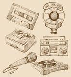 Set von Hand gezeichnet Ikonen der Musik Lizenzfreies Stockbild
