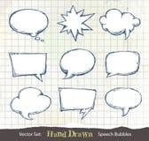 Set von Hand gezeichnet Spracheluftblasen Lizenzfreies Stockfoto