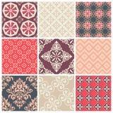 Set von neun bunten nahtlosen Mustern Stockbilder