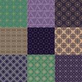 Set von neun nahtlosen Mustern Stockfotografie