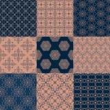 Set von neun nahtlosen Mustern Lizenzfreie Stockbilder