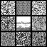 Set von neun Schwarzweiss-Wellenmustern Stockfoto