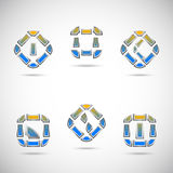 Set von sechs abstrakten Symbolen Lizenzfreie Abbildung
