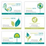 Set von sechs Gartenarbeit- und Natur-Visitenkarten Stockfotos