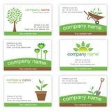 Set von sechs Gartenarbeit- und Natur-Visitenkarten Stockfotografie