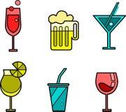 Set von sechs Getränkikonenvarianten Lizenzfreie Stockfotos