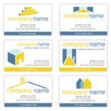 Set von sechs Grundbesitz- oder Erbauer-Visitenkarten Stockfoto