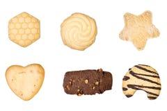 Set von sechs köstlichen Plätzchen Stockbilder