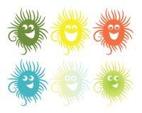 Set von sechs lächelnden Ikonen Lizenzfreie Stockfotografie