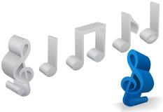 Set von sechs Symbolen der musikalischen Anmerkung in 3D auf Weiß Stockfotografie