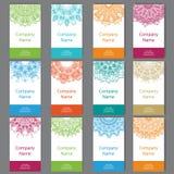 Set von sechs Visitenkarten Weinlesemuster im Retrostil mit Mandala Übergeben Sie gezogenen Islam, Arabisch, Inder, Spitzemuster lizenzfreie abbildung