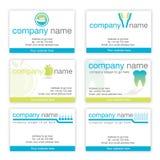 Set von sechs zahnmedizinischen Visitenkarten Stockfoto